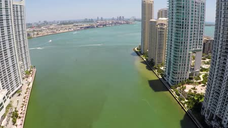 ave : Brickell Miami River Aerial Hover Stock Footage
