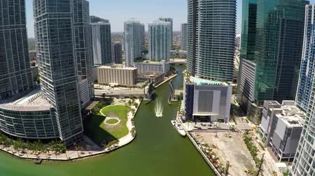 ave : Brickell Miami River Aerial Fly between Buildings Stock Footage