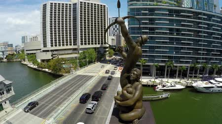 memorial day : Brickell Tequesta Family Statue Aerial Orbit