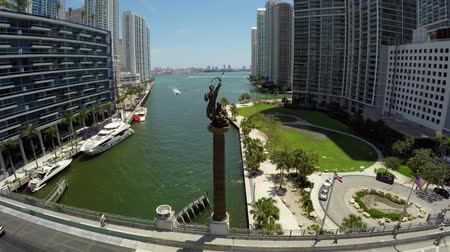 ave : Brickell Tequesta Family Statue Aerial  Zoom In Stock Footage