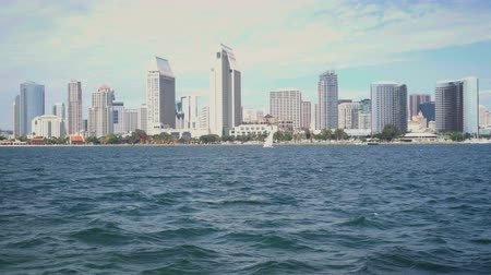4K San Diego downtown skyline view from Coronado. Wideo
