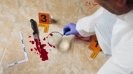 forgery : Expert Police examining with magnifying glass a knife with blood at the scene of a crime, conceptual image Stock Footage