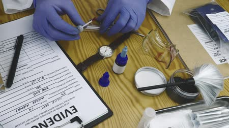 matança : Police expert examines blood sample at Laboratory forensic equipment Stock Footage