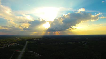 sunrays and clouds over landscape Stok Video