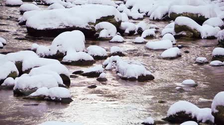 mountain creek and snow covered rocks
