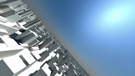 forma tridimensional : 3d animation of camera flying through crowd city