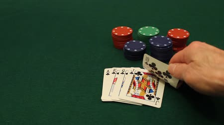 покер : player goes all in after being dealt a royal flush poker hand Стоковые видеозаписи