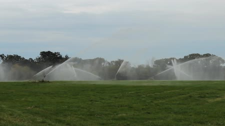 A large irrigation system operating in a rural field.