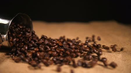 bez : Coffee Beans Falling on Bagging from Cezve Stok Video