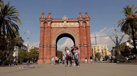 triumphal arch : Time lapse video from Arc de Triumf, Barcelona, Spain, 15. October 2017
