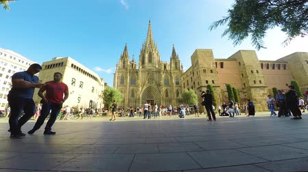 mary : Nice sunny October day near in the Cathedral in Barcelona of Spain, 9. October 2017
