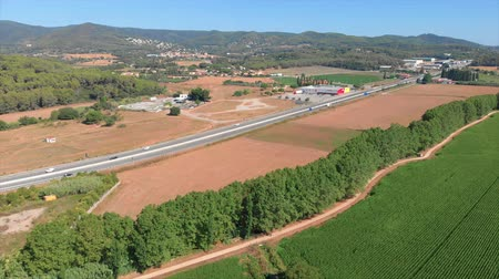 Коста : Spanish landscape make with drone near the town Palamos