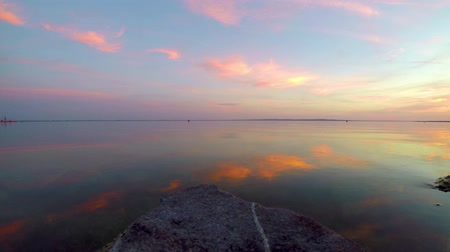 Nice sunset landscape over the lake Balaton in village Szigliget of Hungary Wideo