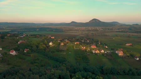 Drone aerial footage from a Hungarian landscape with volcanoes, near the lake Balaton