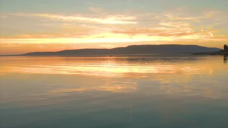 Sunset landscape over the lake Balaton in village Szigliget of Hungary Wideo