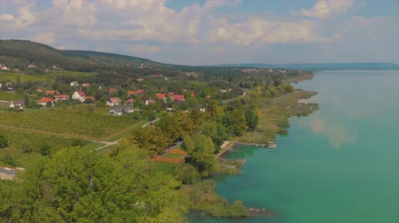 panoramic view from a lake Balaton of Hungary Wideo