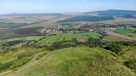 viticultura : Aerial hungarian landscape footage from a hill Csobanc, near a lake Balaton Stock Footage