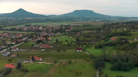 birdseye : Landscape view from a Hungarian with volcanoes, near the lake Balaton Stock Footage