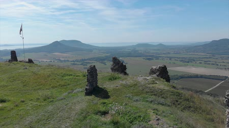 birdseye : Beautiful panoramic view from  ancient castle on the hill Csobanc in Hungary