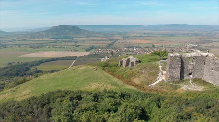 Panoramic view from a beautiful ancient castle on the hill Csobanc in Hungary Wideo