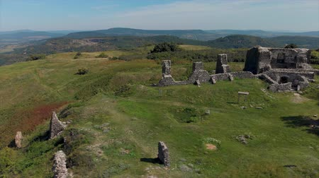 Beautiful panoramic view from  ancient castle on the hill Csobanc in Hungary