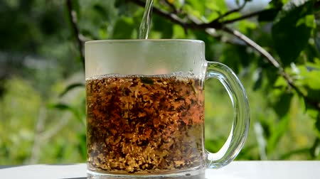 various tea : Process brewing tea,Cup of freshly tea, .Hot water is poured from the kettle into a cup with tea leaves. green garden background