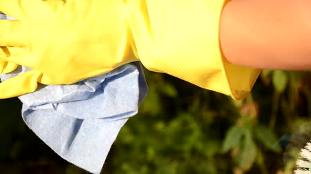 pane : Cleaning conept - hand cleaning glass window pane with detergent and wipe or rag