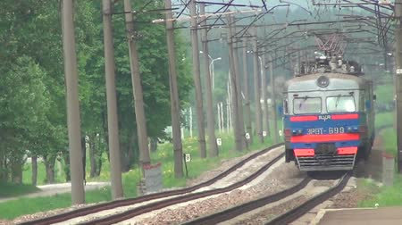 lokomotif : receding train 3 Stok Video