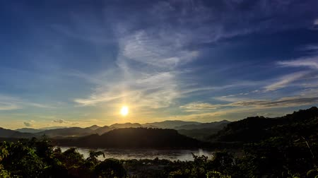 prabang : Moving clouds over Mekong river at sunset. View from Mountain Phousi, Luang Prabang, Laos Stock Footage