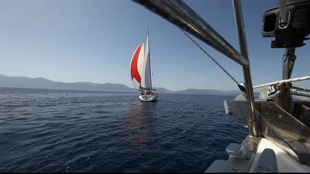 saronic : Sailing in the wind through the waves (HD) Sailing boat shot in full HD at the Saronic Gulf, Greece.