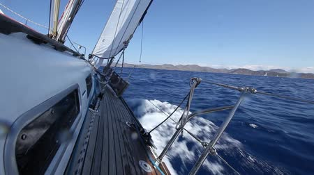 saronic : Sailing boat shot in full HD at the Saronic Gulf, Greece. Sailing in the wind through the waves (HD)