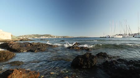 saronic : Marina Greek Andros island. Soft waves, camera movement, a set of clips. (HD)
