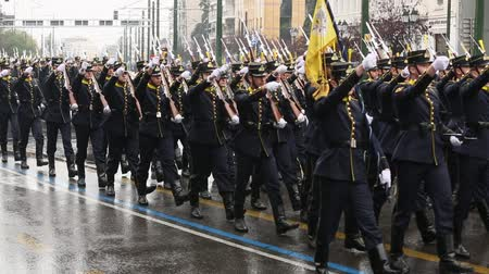 soldados : ATHENS, GREECE - MAR 25, 2015: During Military parade for the Greece Independence Day is an annual national holiday, on this day, Greeks pay tribute to the heroes of the Revolution 1821-1829.