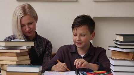 özel öğretmen : Student during homework with the help of a tutor. (HD) Stok Video