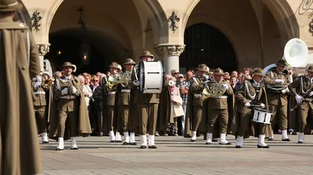 playing band : KRAKOW POLAND  MAY 3 2015: Military Band on main square of Krakow during annual Polish national and public holiday the Constitution Day. May 3 1791 was adopted first Constitution of modern Europe.