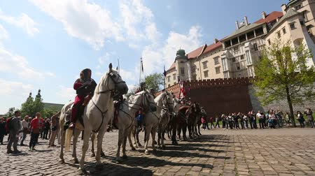 reencenação : KRAKOW POLAND  MAY 3 2015: Polish cavalry during annual of Polish national and public holiday the May 3rd Constitution Day. Holiday celebrates declaration of the Constitution of May 3 1791. Stock Footage