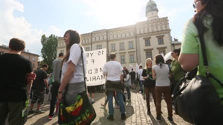 lengyelország : KRAKOW POLAND  MAY 9 2015: Unidentified participants of the March For Cannabis Liberation. Marijuana Marches held every year in the spring time all over the world in more than 300 cities. Stock mozgókép