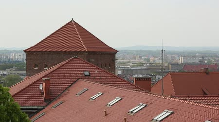 lengyelország : Top view of the roofs in the historic centre of Krakow Poland.