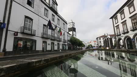 sao miguel : PONTA DELGADA AZORESPORTUGAL  JUN 15 2015: Praca da Republica in Ponta Delgada. City is located on Sao Miguel Island 232.99 km2 Region capital under the revised constitution of 1976.