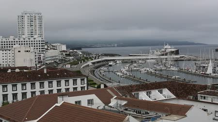 sao miguel : Top view of the Marina of Ponta Delgada, Sao Miguel Island, Azores.