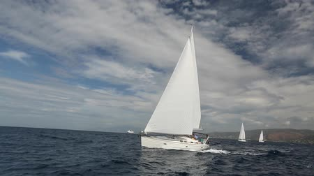 żaglówka : Sailing yacht race. Ship yachts with white sails in the open Sea. Luxury boats. Wideo