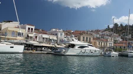 saronic : Poros island, Greece - the view from a passing yacht in Aegean Sea. Stock Footage