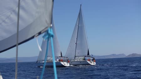 saronic : Cruising on a sailing boat. Boat in sailing regatta. Luxury yachts.