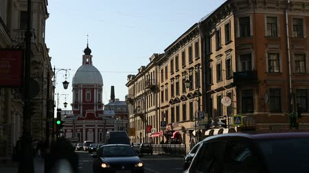 historical building : Liteiny Prospekt in St Petersburg, Russia. Stock Footage