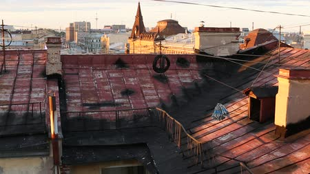 zastřešení : View over the rooftops of the old center of St. Petersburg in Russia. Dostupné videozáznamy
