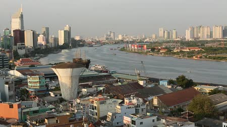 mi : HO CHI MINH CITY, VIETNAM - JAN 15, 2016: Top view of Ho Chi Minh City. Ho Chi Minh, former Saigon, is located in the South of Vietnam, is the countrys largest city, population 8 million.