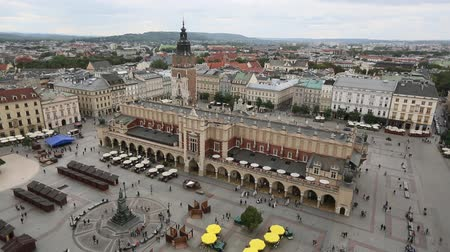 Krakow, aerial view, Main Market Square and the Cloth Hall of the Old Town (Rynek Glowny w Krakowie) Poland. Stock Footage
