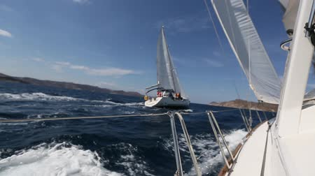 Sailing race. Yachting in the Aegean sea. Luxury yacht. Stock Footage