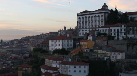 Ribeira District of Porto at sunset time, Portugal.