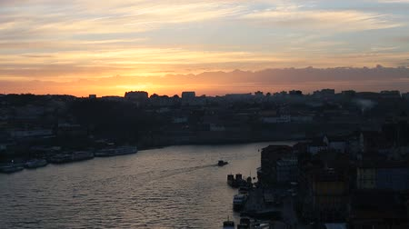 Douro river in the historic center of Porto at sunset. Portugal.